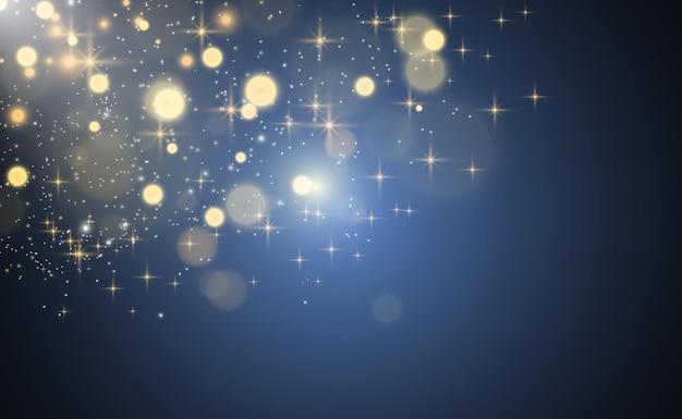 Heller lichteffekt isoliert auf blau