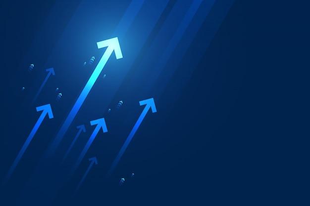 Heller pfeil nach oben schaltung auf dunkelblauem hintergrund mit kopienraumkopieillustration, geschäftswachstumskonzept.