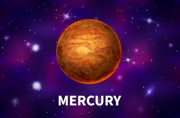 Heller realistischer merkurplanet auf buntem weltraumhintergrund mit hellen sternen