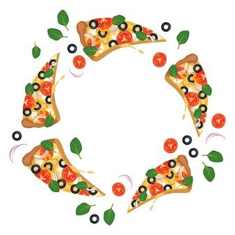 Heller runder rahmen mit pizzascheiben-fast-food-druck mit gemüse
