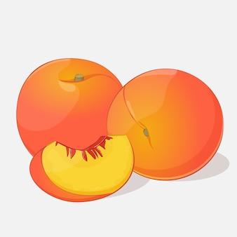 Heller saftiger pfirsich auf grauem hintergrund in der karikaturart