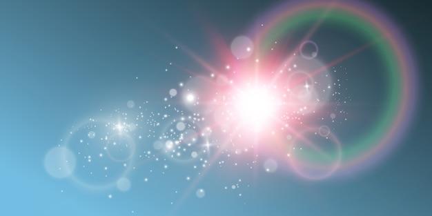 Heller schöner stern. illustration eines lichteffekts auf einem transparenten hintergrund.