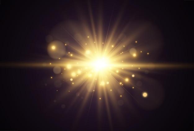 Heller schöner stern. lichteffekt auf transparentem hintergrund.