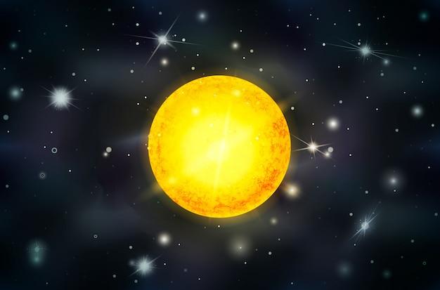 Heller sonnenstern mit lichtstrahlen auf weltraumhintergrund mit hellen sternen und sternbildern