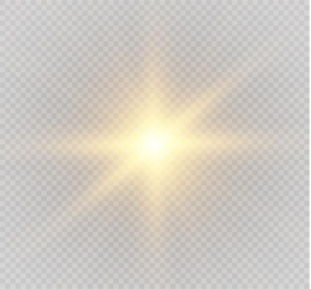 Heller stern. gelbes leuchtendes licht explodiert auf einem transparenten hintergrund. transparent strahlende sonne, heller blitz.