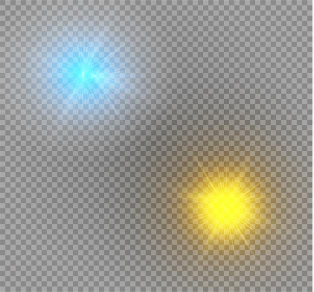 Heller stern. transparent strahlende sonne, heller blitz. blau und gelb leuchtendes licht explodiert auf einem transparenten hintergrund.