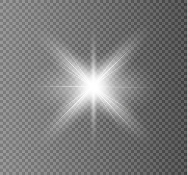 Heller stern. transparent strahlende sonne, heller blitz. weiß leuchtendes licht explodiert.