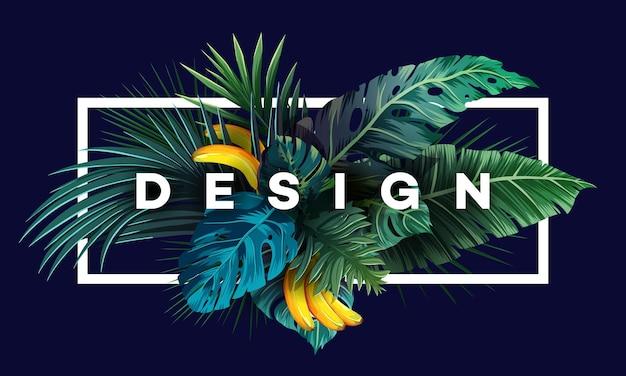Heller tropischer hintergrund mit dschungelpflanzen exotisches muster mit palmblättern vektorillustration