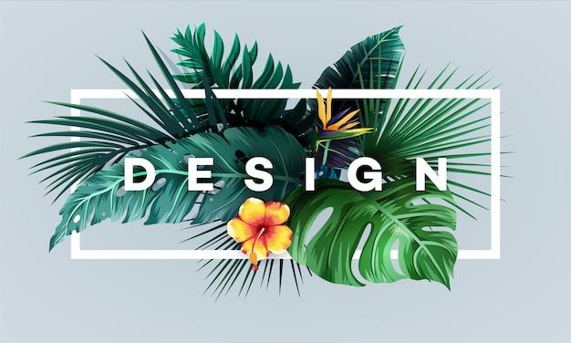 Heller tropischer hintergrund mit dschungelpflanzen. exotisches muster mit palmblättern.