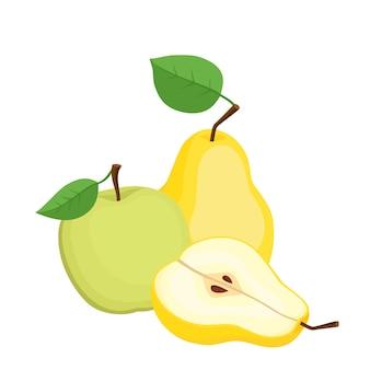 Heller vektorsatz aus bunter birne und apfel. bio frische früchte der karikatur isoliert auf weißem hintergrund für zeitschriften, bücher, poster, karten, menü-cover, webseiten.