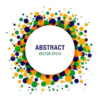 Helles abstraktes kreis-rahmen-design-element mit brasilien-flaggenfarben, vektorillustration