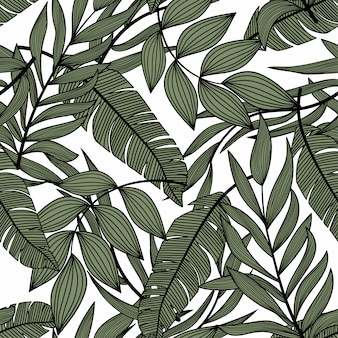 Helles abstraktes nahtloses muster mit bunten tropischen blättern und pflanzen auf licht