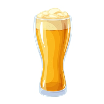 Helles bier im glasbecher mit schaum. hoher becheralkohol, traditionelles getränk des bierfestes oktoberfest. vektorillustration im cartoon-stil.