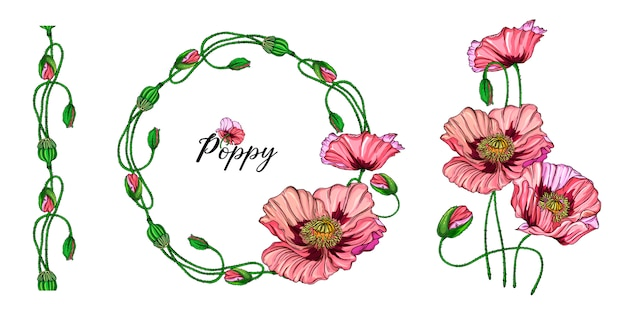 Helles blumengesteck mit rosa mohnblumenblumen.