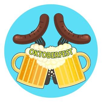 Helles buntes oktoberfestsymbol mit zwei tassen bier und zwei würstchen