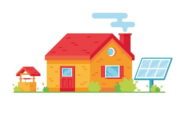 Helles cartoon-wohnhaus. zweistöckiges haus. außen. blaues solarpanel. gut im hof. für die natur sorgen, öko. rot und gelb
