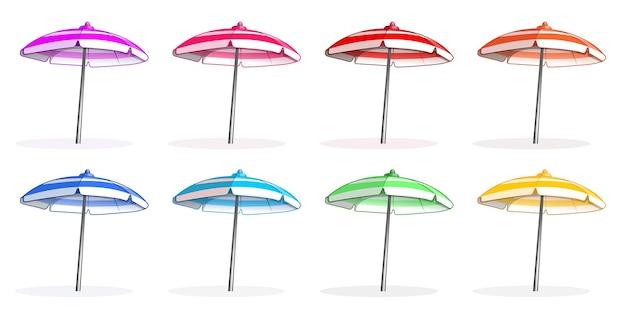 Helles colorfu mehrfarbiges sonnenschirm-set. seitenansicht des sonnenschirms.