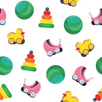 Helles farbiges nahtloses muster mit kinderspielzeug - kinderwagen, kugel, pyramide, ente mit rädern auf weißem hintergrund. kindliche illustration für tapete, textildruck, geschenkpapier.