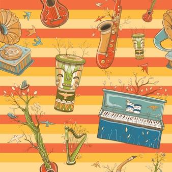 Helles farbiges nahtloses muster mit musikinstrumenten