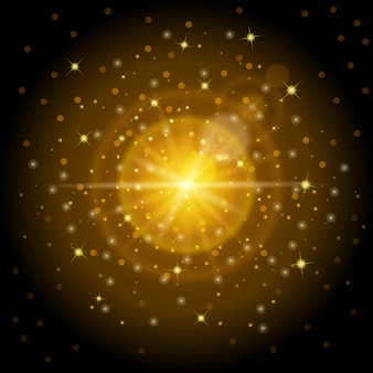 Helles, hochwertiges goldmuster mit sonnenlichteffekt, perfekt für weihnachten und neujahr. entwarf, helle linseneffektlichter und magische ablichtungen einzustellen.