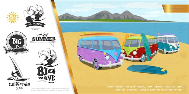 Helles konzept des bunten surfensports mit surf-lkw-surfbrettern auf see- und gebirgslandschaft große meereswellen hai windsurfen monochrome embleme illustration