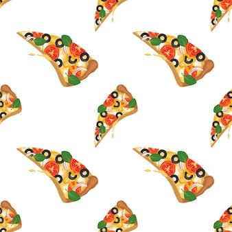Helles muster mit pizzascheiben-fast-food-druck mit gemüse und käse