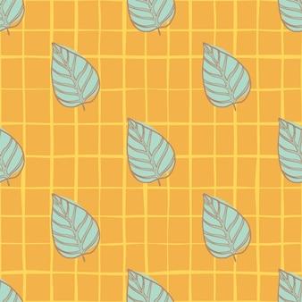Helles nahtloses blumenblattmuster des sommers. botanisch blau konturierte silhouetten auf orange kariertem hintergrund.