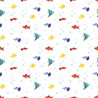 Helles nahtloses meeresmuster mit fischen und blasen