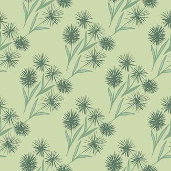 Helles nahtloses muster der löwenzahnverzierung. stilisierte blumen und hintergrund in pastellgrünen farben. ideal für geschenkpapier, textilien, stoffdruck und tapeten. illustration.