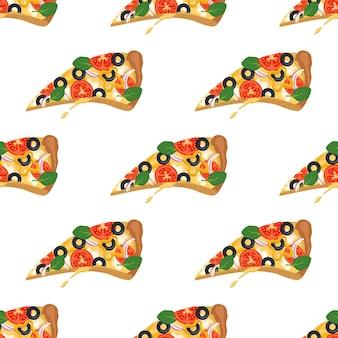 Helles nahtloses muster mit pizza-fast-food-scheiben drucken mit gemüse und käse