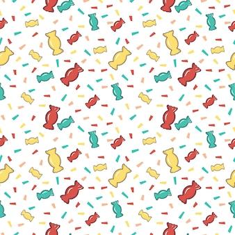Helles nahtloses muster mit süßigkeiten und konfettipapier. festlicher druck für urlaub, geburtstag, neujahr und design