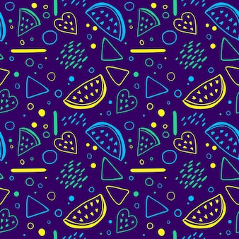 Helles nahtloses muster mit wassermelonenscheiben und geometrischen elementen im memphis-stil