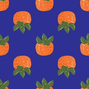 Helles nahtloses nahrungsmittelmuster mit kakisilhouetten der herbsternte. orangenfrüchte auf blauem hintergrund.