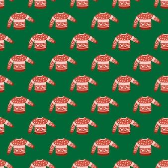 Helles nahtloses weihnachtsmuster mit warmem pullover. rote kuschelige kleidung