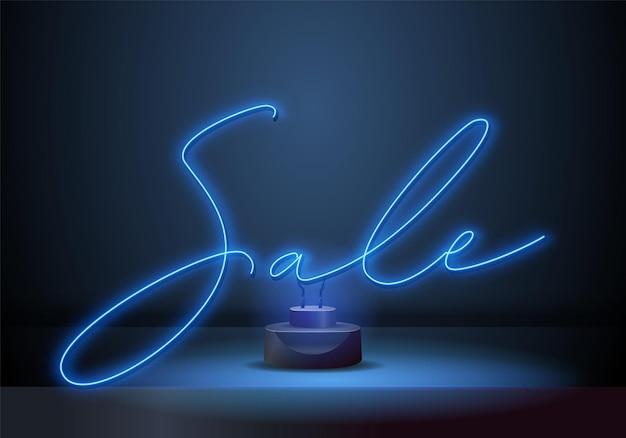 Helles neon-verkaufszeichen. retro-neon-verkaufszeichen auf dunklem hintergrund. bereit für ihr design, ihre werbung, ihr banner. vektor-illustration.