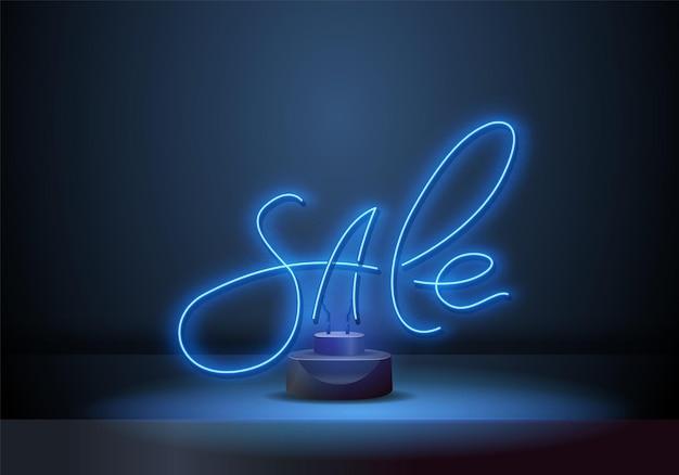 Helles neon-verkaufszeichen. schriftzug blaues neon-verkaufszeichen auf dunklem hintergrund. bereit für ihr design, ihre werbung, ihr banner. vektor-illustration.