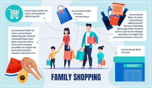 Helles plakat-gesundes essen und familien-einkaufen.