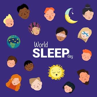 Helles poster zum weltschlaftag mit schlafendem planeten, sonne, mond und köpfen von männern, frauen und kindern verschiedener nationalitäten und hautfarben. vektor-flache cartoon-illustration