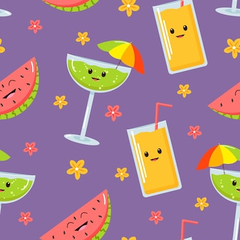 Helles sommermuster mit cartoon-cocktails
