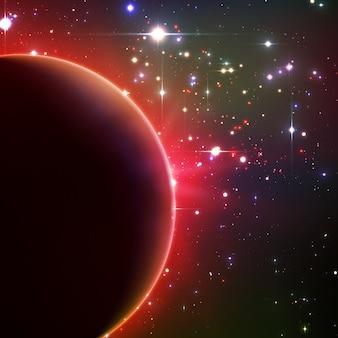 Helles sternenlicht scheint vom rand eines planeten