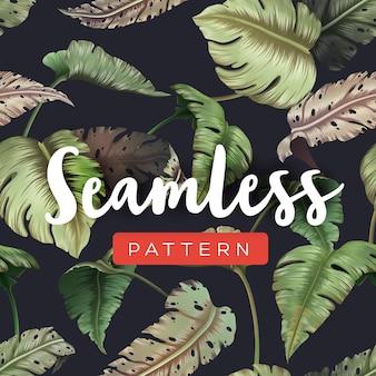 Helles tropisches nahtloses muster mit dschungelpflanzen. exotischer hintergrund mit palmblättern. illustration