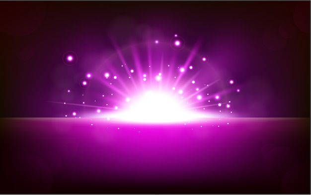 Helles violettes licht, das vom dunklen horizont steigt