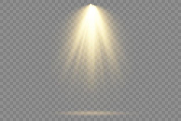 Hellgelbe beleuchtung mit scheinwerfern