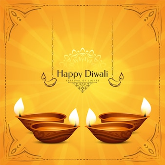 Hellgelber glücklicher diwali festivalhintergrund