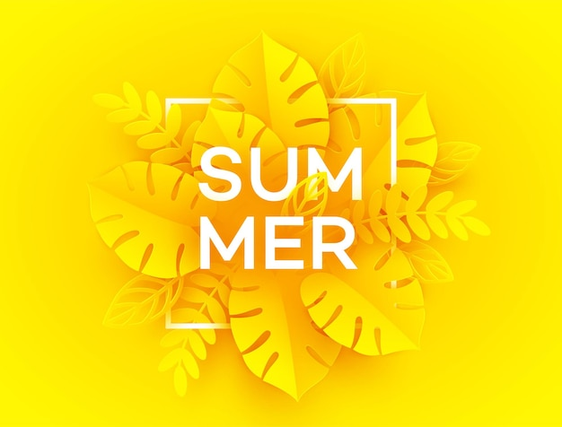 Hellgelber sommerhintergrund. inschrift sommer umgeben von papier geschnittenen tropischen palmblättern auf gelb