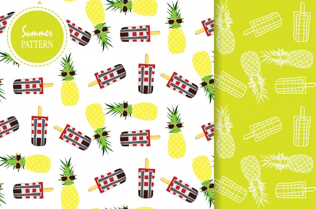Hellgelbes grünes weißes nahtloses muster mit ananas