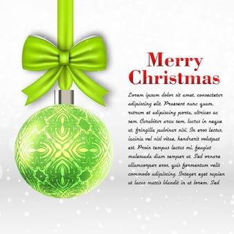 Hellgraue frohe weihnachtsschablone mit textfeld und flacher vektorillustration des großen dekorationsballs