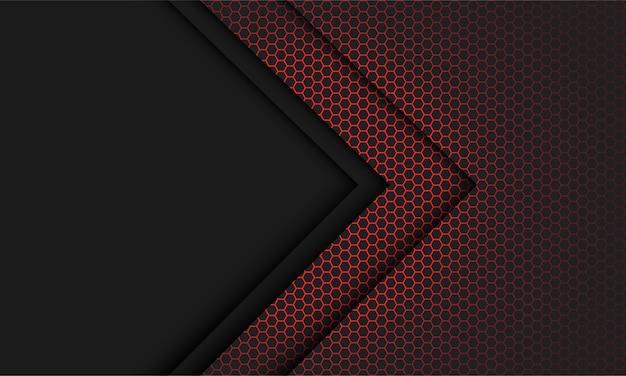 Hellgraue pfeilrichtung des abstrakten roten sechsecknetzes mit dem modernen futuristischen technologiehintergrund des leerraums