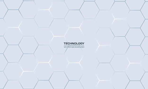 Hellgrauer hexagonaler technologie abstrakter hintergrund