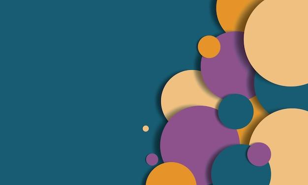 Hellgrüne, gelbe, violette geometrische kreisform auf grünem hintergrund. design für banner-website.